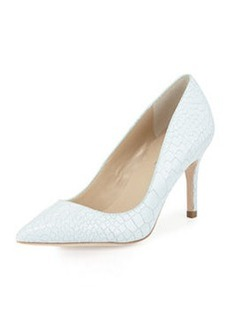 Charles David Luisa Crocodile-Embossed Pump, White