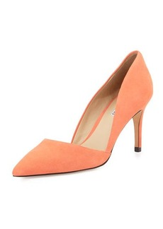 Charles David Lulu Pointed-Toe Leather d'Orsay Pump, Coral
