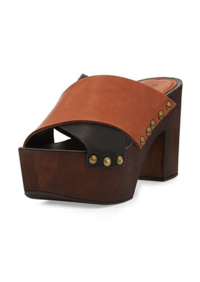 Charles David Mania Strappy Leather Sandal, Black/Cognac