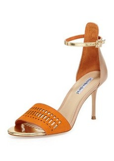 Charles David Margie Suede-Cutout Leather Sandal, Orange/Nude