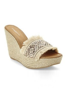charles david Natural & Rose Gold Dana Frayed Wedge Sandals