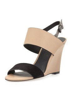 Charles David Nominee Leather Snakeskin Wedge Sandal, Black/Nude