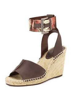 Charles David Ofilia Snake-Embossed Ankle Strap Wedge Sandal, Brown/Red