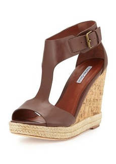Charles David Olivia Leather T-Strap Wedge W/Jute Trim, Dark Brown