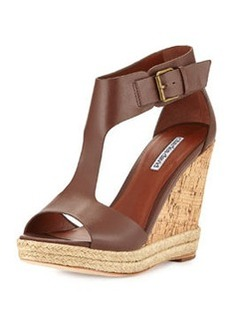 Charles David Olivia T-Strap Wedge Sandal, Spice Brown
