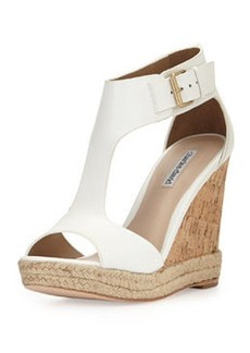 Charles David Olivia T-Strap Wedge Sandal, White