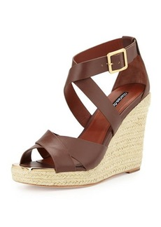 Charles David Olympia Leather Espadrille Braided Wedge Sandal, Dark Brown