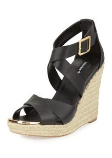 Charles David Olympia Leather Wedge Sandal, Black