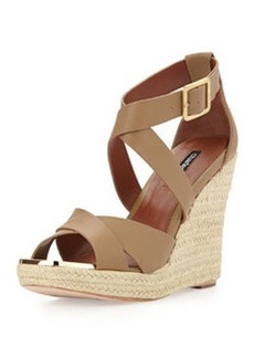 Charles David Olympia Leather Wedge Sandal, Nude