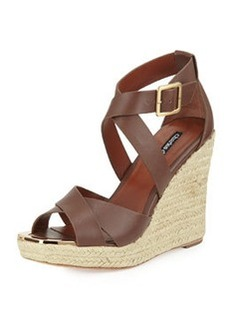 Charles David Olympia Leather Wedge Sandal, Spice Brown