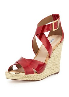 Charles David Olympia Patent Leather Espadrille Braided Wedge Sandal
