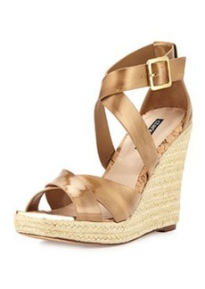 Charles David Olympia Patent Wedge Sandal, Gold
