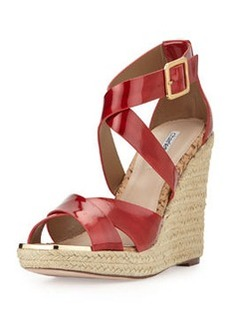 Charles David Olympia Patent Wedge Sandal, Red