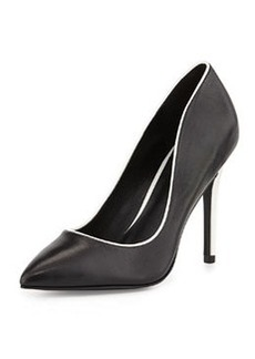 Charles David Pact Contrast-Trim Pump, Black/White