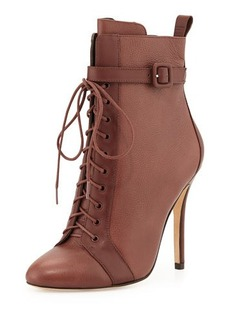 Charles David Paige Lace-Up Leather Bootie, Brown
