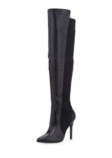 Charles David Persona Leather Over-the-Knee Stretch Boot, Black