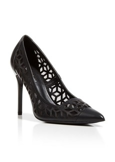 Charles David Pointed Toe Pumps - Kaylee Laser Cut High Heel