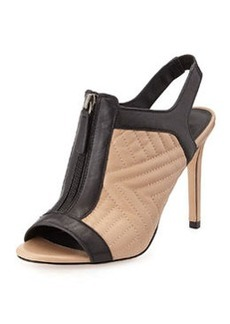 Charles David Quilted Leather Bootie, Nude/Black