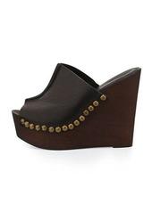 Charles David Recchia Leather Woodgrain Sandal Wedge