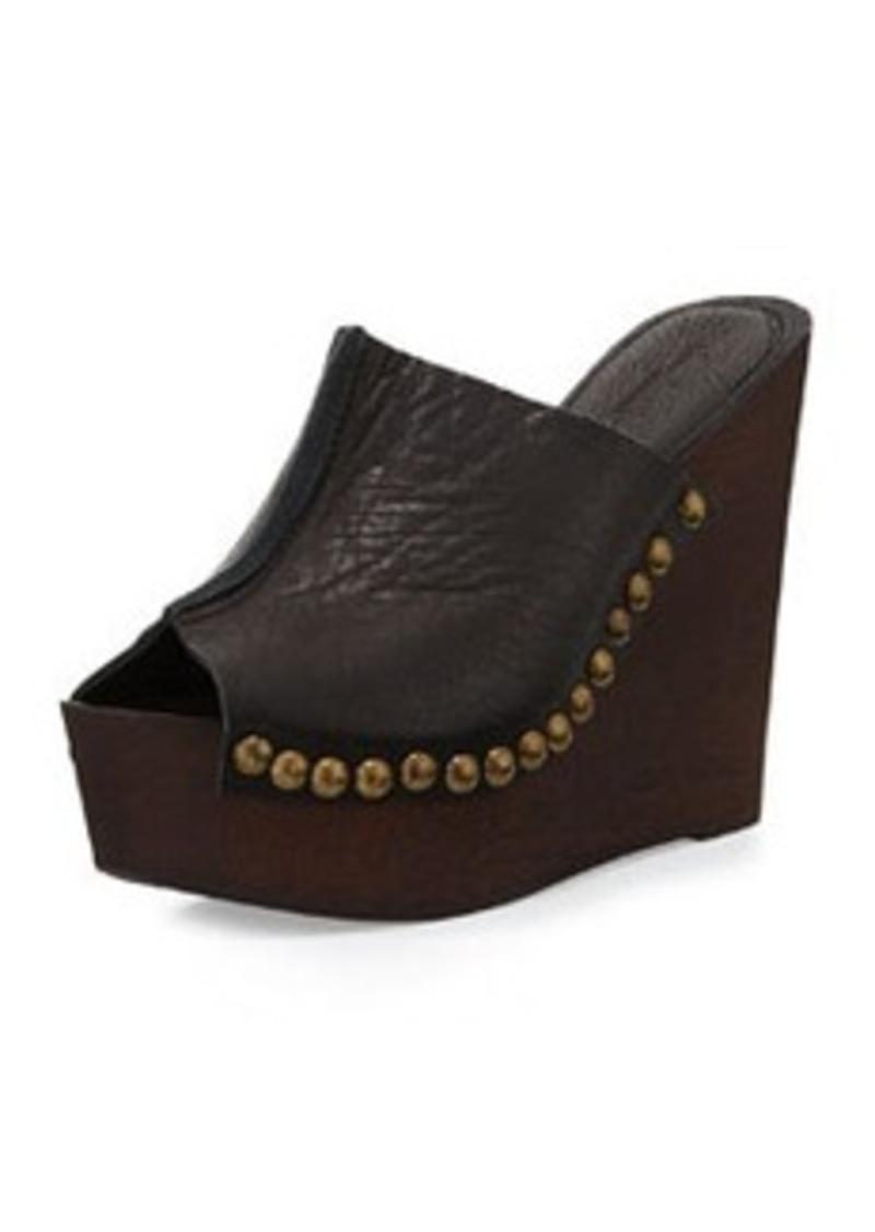 Charles David Recchia Leather Woodgrain Sandal Wedge, Black