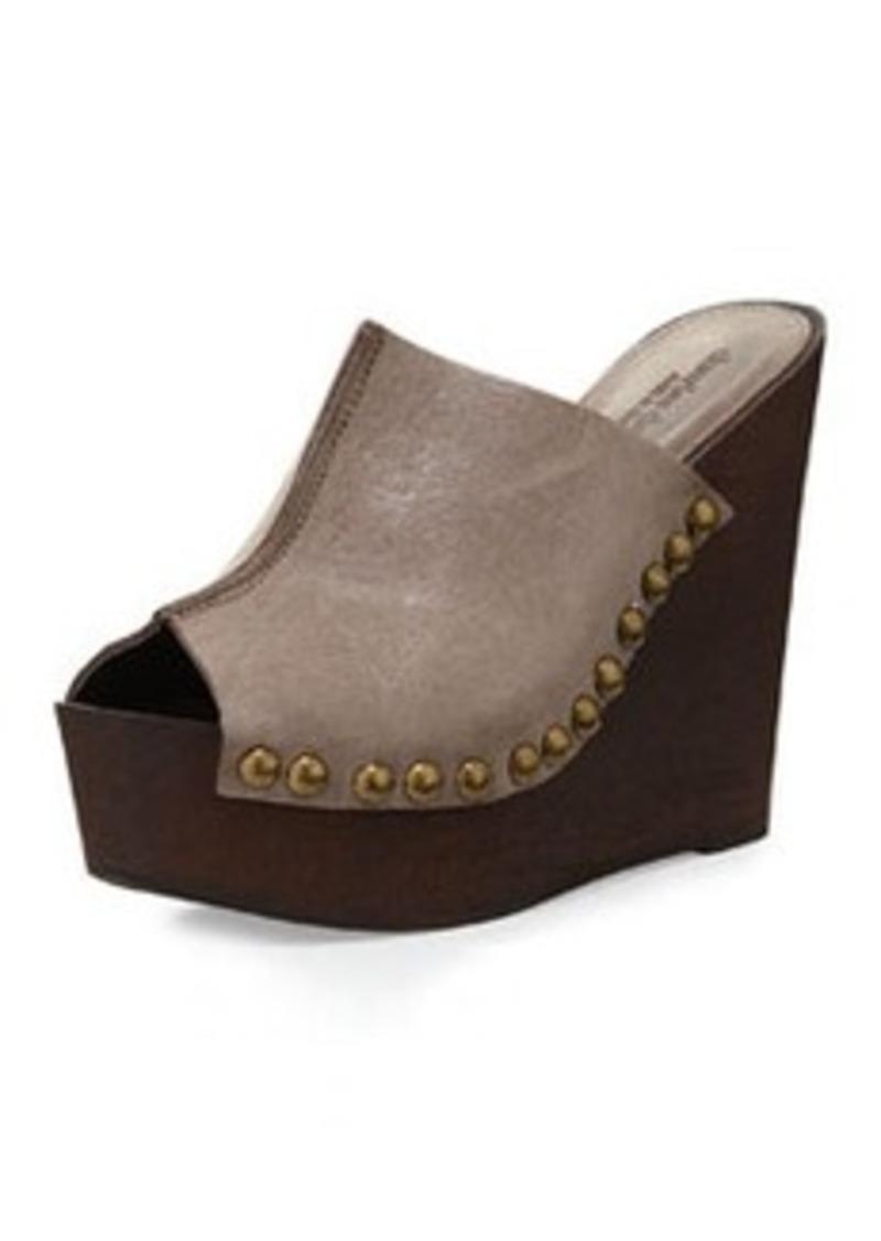 Charles David Recchia Leather Woodgrain Sandal Wedge, Taupe