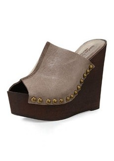 Charles David Recchia Leather Woodgrain Sandal Wedge, Taupe