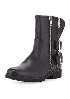 Charles David Val Leather Double-Zip Moto Boot