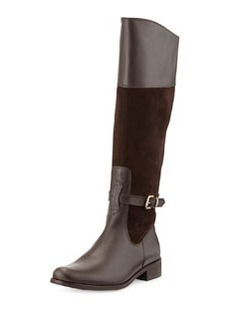Charles David Rosy Suede & Leather Buckled Knee Boot, Brown