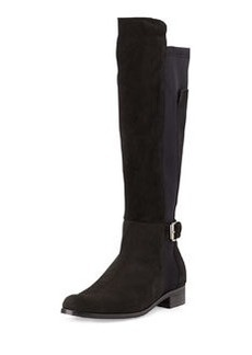 Charles David Suede & Jersey Knee-High Boot, Black