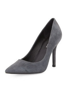 Charles David Suede Pointy-Toe Pump, Gray