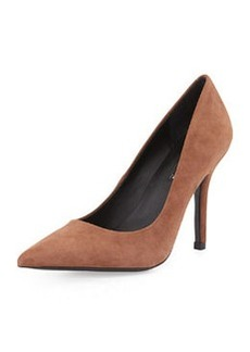 Charles David Suede Pointy-Toe Pump, Taupe