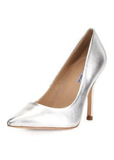 Charles David Swayy II Metallic Leather High-Heel Pump, Silver