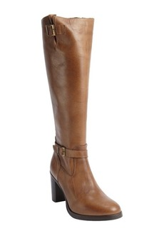 Charles David taupe leather zip closure 'Jordana' heel boots