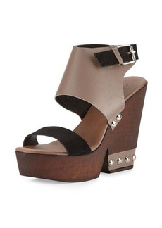 Charles David Teisha Leather/Suede Wedge Sandal