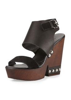 Charles David Teisha Leather/Suede Wedge Sandal