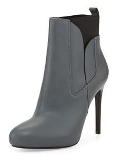 Charles David Yadira Leather High-Heel Bootie, Grey