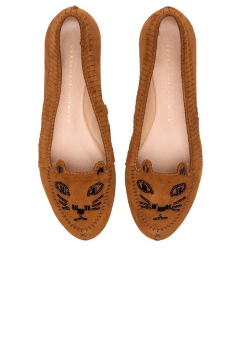 charlotte olympia charlotte olympia suede kitty moccasins shoes shop it to me. Black Bedroom Furniture Sets. Home Design Ideas