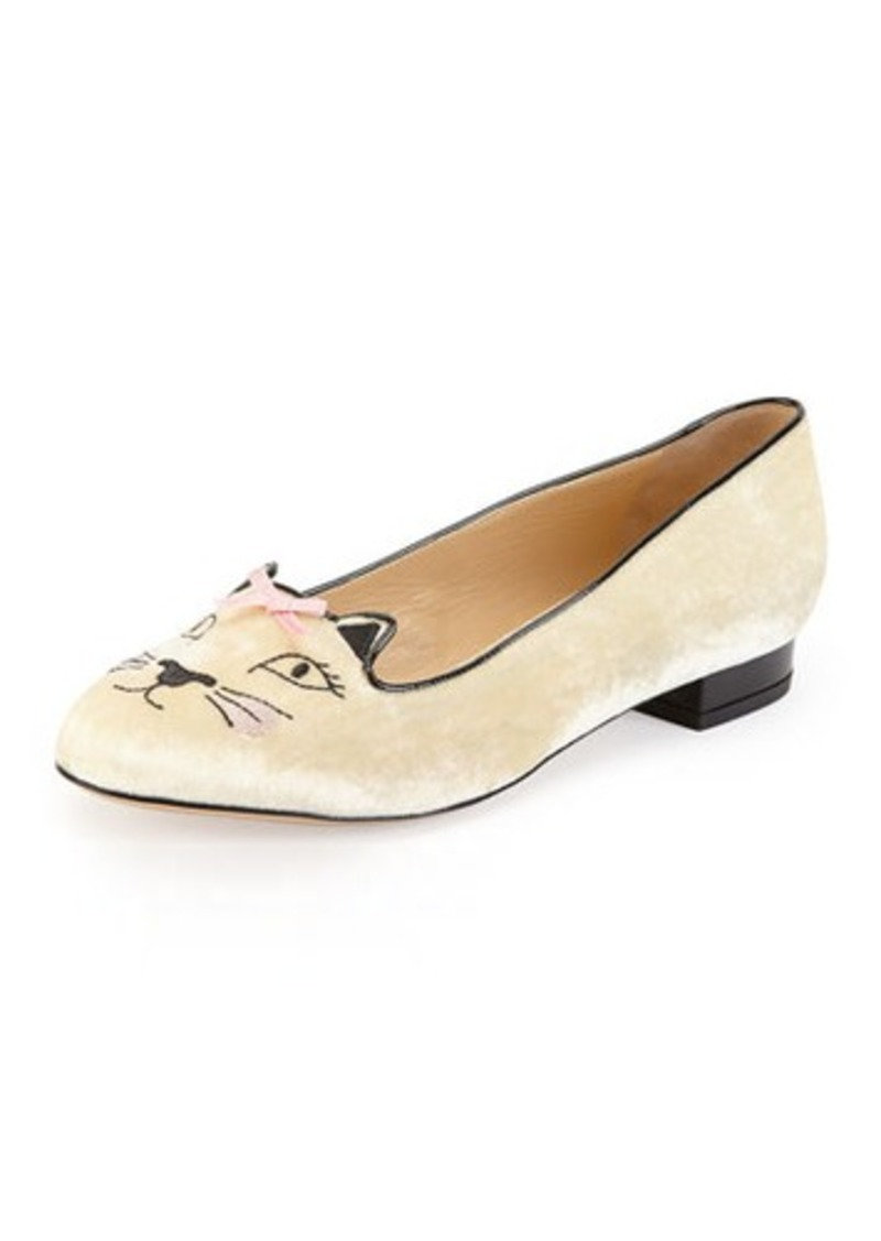 charlotte olympia charlotte olympia pretty kitty velvet slipper white shoes shop it to me. Black Bedroom Furniture Sets. Home Design Ideas