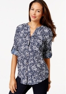 Charter Club Petite Leaf-Print Button-Front Shirt, Only at Macy's