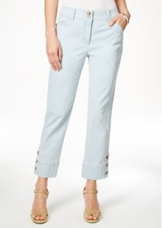 Charter Club 3-Button Cropped Jeans, Feather Blue