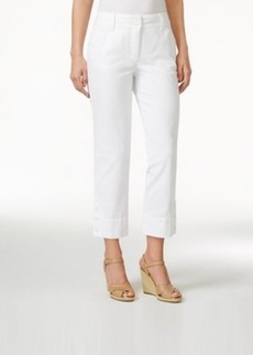 Charter Club 3-Button Denim Capri, White Wash