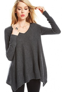 Charter Club Asymmetrical-Hem V-Neck Cashmere Sweater