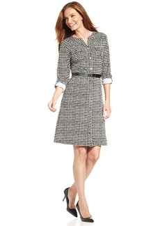 Charter Club Belted Houndstooth-Print Shirtdress