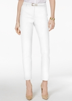 Charter Club Belted Tummy-Control Slim-Leg Pants, Only at Macy's