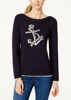 Charter Club Boat-Neck Anchor-Graphic Sweater, Only at Macy's