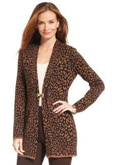 Charter Club Petite Buckle-Front Cheetah-Print Cardigan