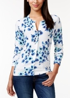 Charter Club Button-Down Floral-Print Cardigan, Only at Macy's