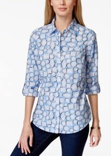 Charter Club Button-Down Shirt, Dishes Print