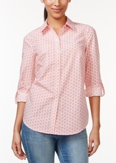 Charter Club Button-Down Shirt, Floral Dot Print