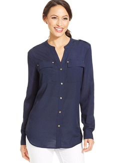 Charter Club Button-Down Utility Blouse